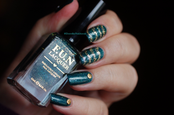 Glitzy Glam + King Fun Lacquer glitter nail art naural light