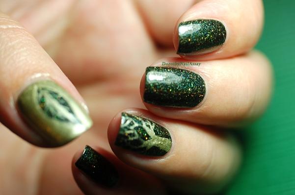 Nail art feuille et arbre pour green foliage Fun lacquer.