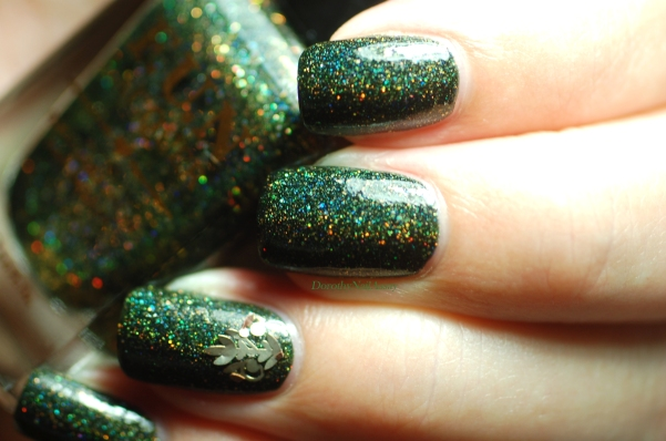 Swatch of Green foliage Fun lacquer 2 coats =+ top coat.
