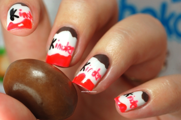 Kinder nail art with Sunset by Picture Polish + Malt easer By Picture polish