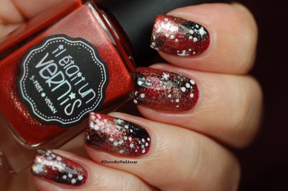 Galaxy nail art avec Il Etait Un Vernis Merlot +Lunaria+Pinot Noir