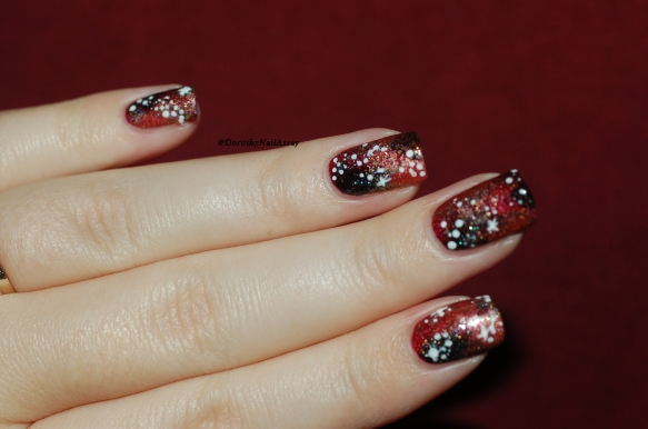 Nail art Galaxie rouge