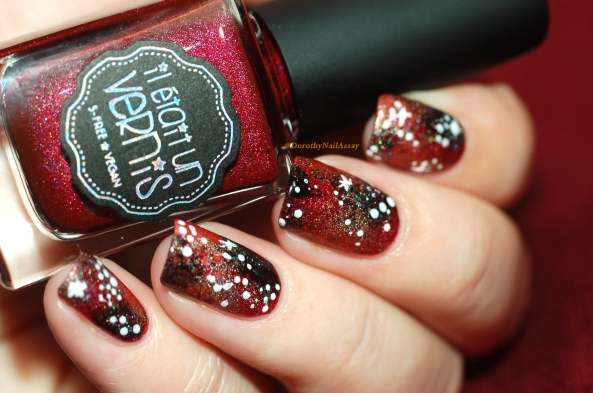 Galaxy nail art with Il Etait Un Vernis Merlot +Lunaria+Pinot Noir