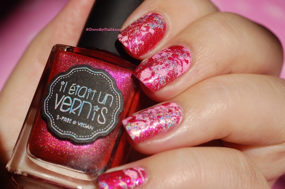holo splatter nails for WNAC2015 october challenge