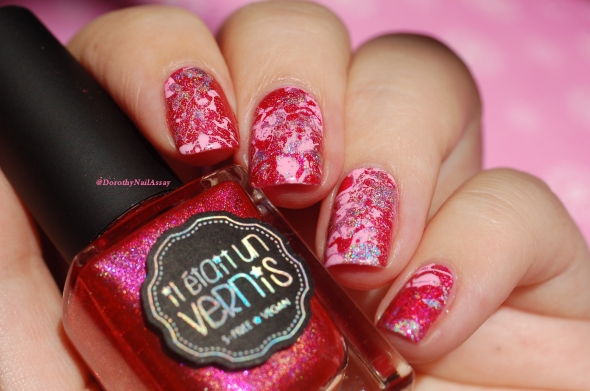 pink splatter nail art 6