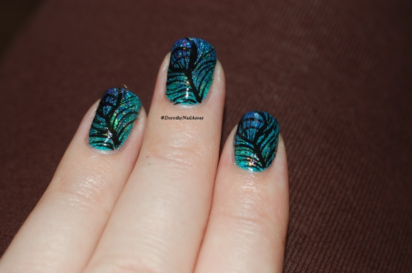 peacock nail art FUN lacquer 10