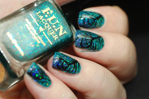 peacock nail art with FUN lacquer exquisite + coral reef