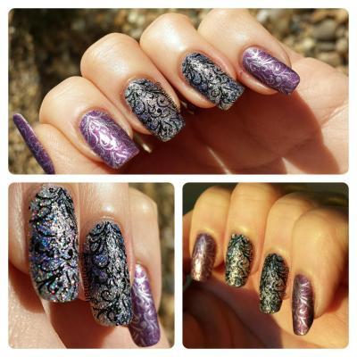nail art de Sonia nail ou songe de npa sur IG avec son stamping enchanté , il me fait un peu penser à la foret de ronce et de rose du château de la bête!!!