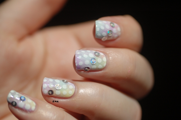 nail art sheer tints rainbow dots 8