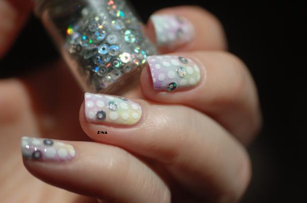 nail art sheer tints rainbow dots 9