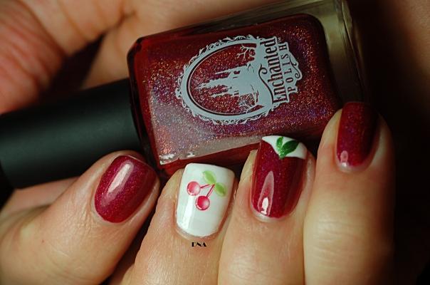 nail art cerise, Pandore Enchanted Polish