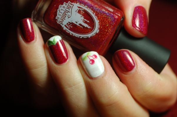 cherry nail art Pandore Enchanted Polish