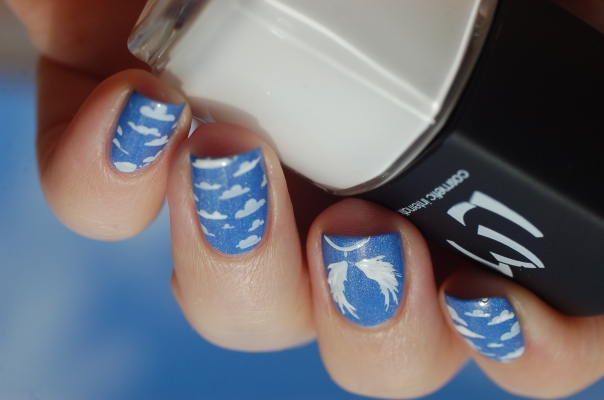 sky + angel nail art stamping