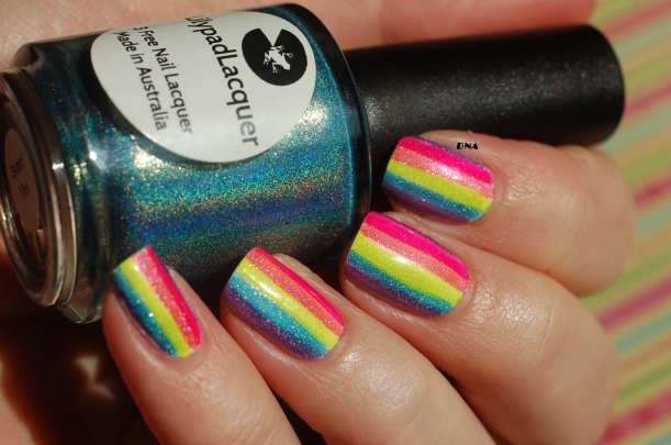 lilypad lacquer Splash and rainbow stripes