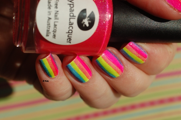 lilypad lacquer bubble Yummo and rainbow stripes