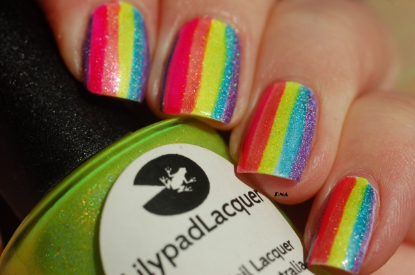 lilypad lacquer zombee and rainbow stripes