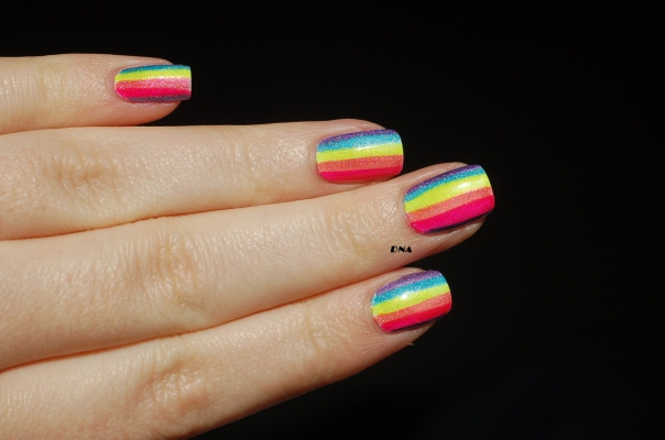 lilypad lacquer holo rainbow stripes