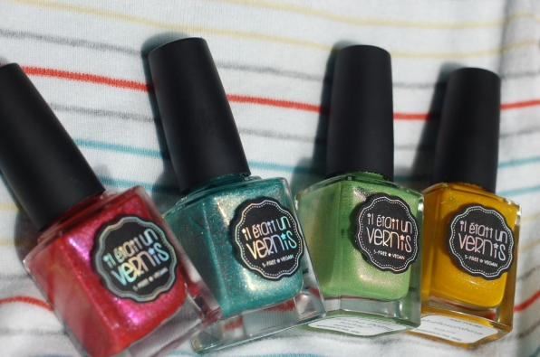 Polishes I used for this rainbow stripes nail art Il Etait Un Vernis  pink: my favorite popsicle, blue: mint to be yours, green: doing matcha today, yellow: hello sunshine
