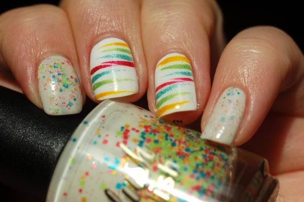 Rainbow stripes avec Il Etait Un vernis  et delush polish