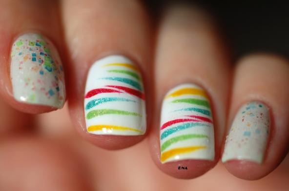close up Rainbow stripes avec Il Etait Un vernis