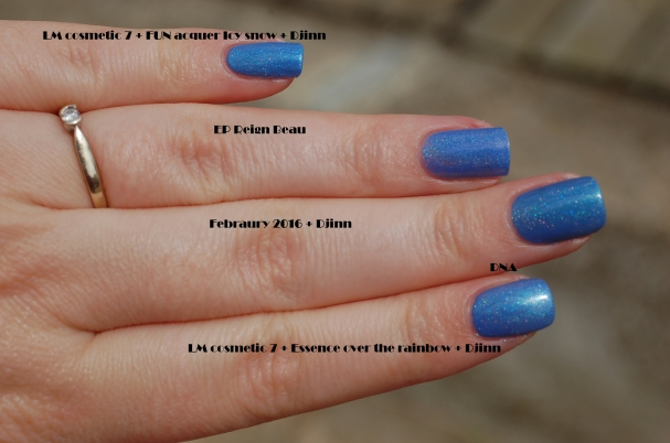 comparaison first finger: lm cosmetic bleu azur N°7 + essence Over the rainbow + djinn middle finger: EP february2016 +djinn ring finger: EP Reign Beau mini finger: Lm cosmetic N°7 bleu azur + fun lacquer Icy snow +djinn