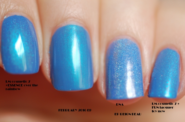 comparaison first finger: lm cosmetic bleu azur N°7 + essence Over the rainbow middle finger: EP february2016 ring finger: EP Reign Beau mini finger: Lm cosmetic N°7 bleu azur + fun lacquer Icy snow