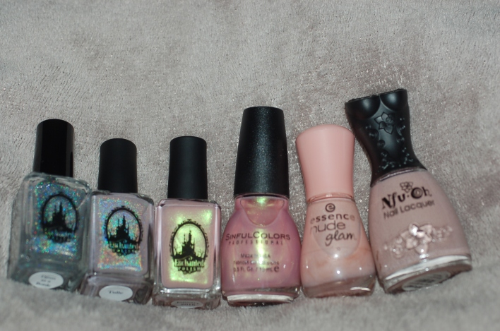 Enchanted Polish tulle, djinn, january 2016, sinful colors, essence glam nude, NFU OH
