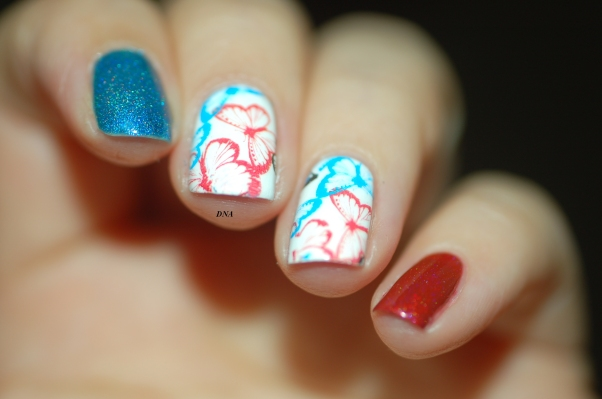 nail art bleu blanc rouge + flash