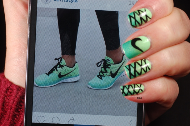 nail art inspired by nike sport shoes