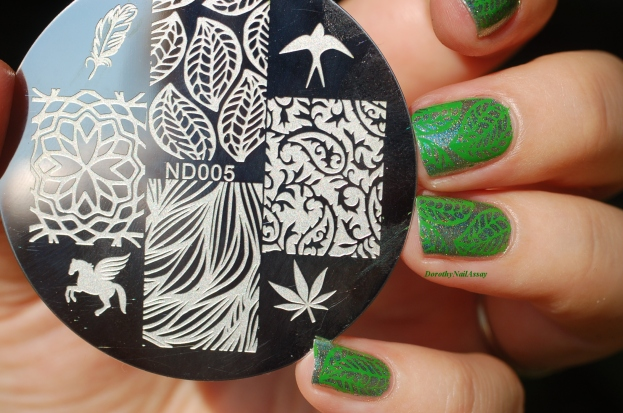 leaf nail art Nicole Diary stamping