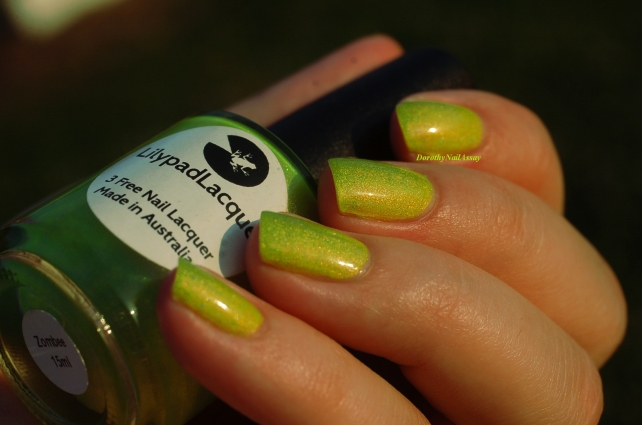 swatch zombee lilypad lacquer yellow lime shimmer lovely!!!