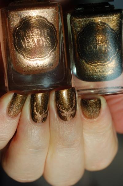 degradé-doré/marron-nail-art