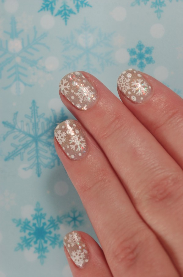 dotticure nail art with stickers snowflakes