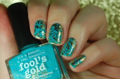 fool's gold and gold foil nailart