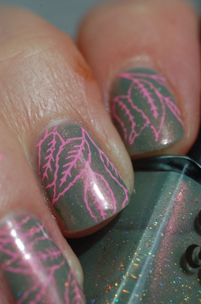 succulent garen cirque stamping pink nailart (2)